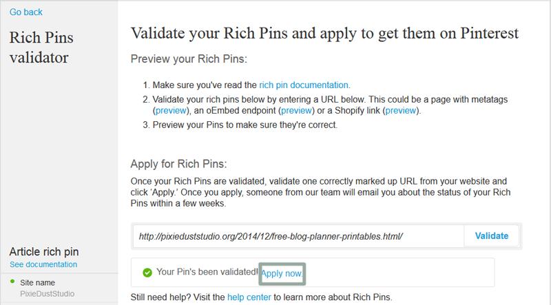 Enabling Pinterest Rich Pins