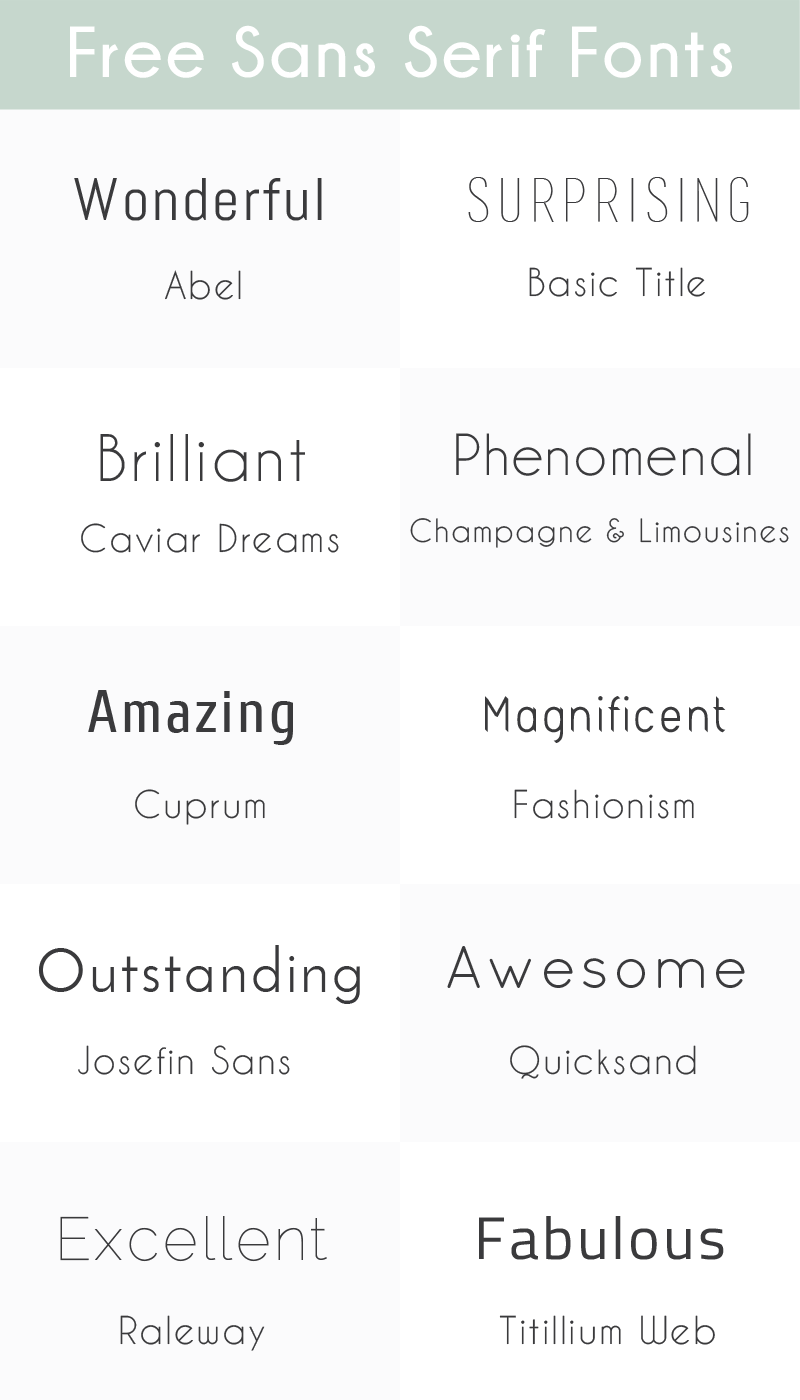 Sunday Freebie: 10 Free Sans Serif Fonts ~ Elan Creative Co