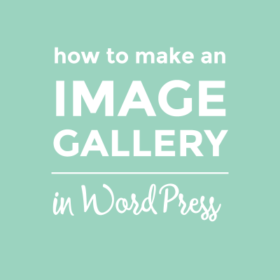 How to make a simple image gallery in WordPress