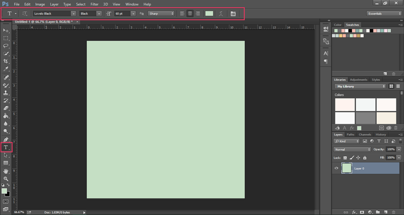 How to use the Photoshop Type Tool