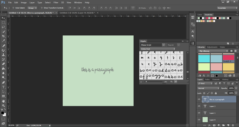 How to use the glyphs panel