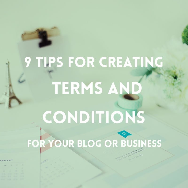 What should be included in the Terms and Conditions of your blog or website