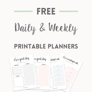 Free daily and weekly planners