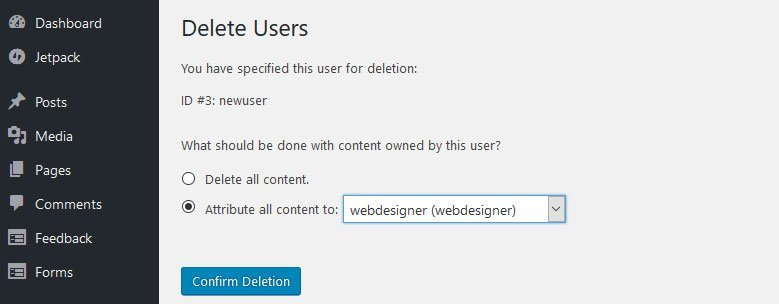 Give WordPress access to your web designer - delete user