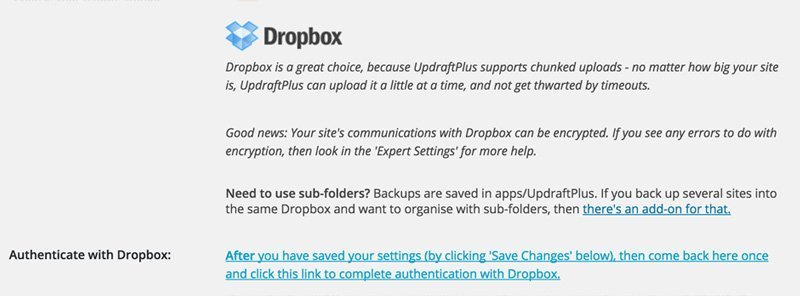 Connect UpdraftPlus with Dropbox