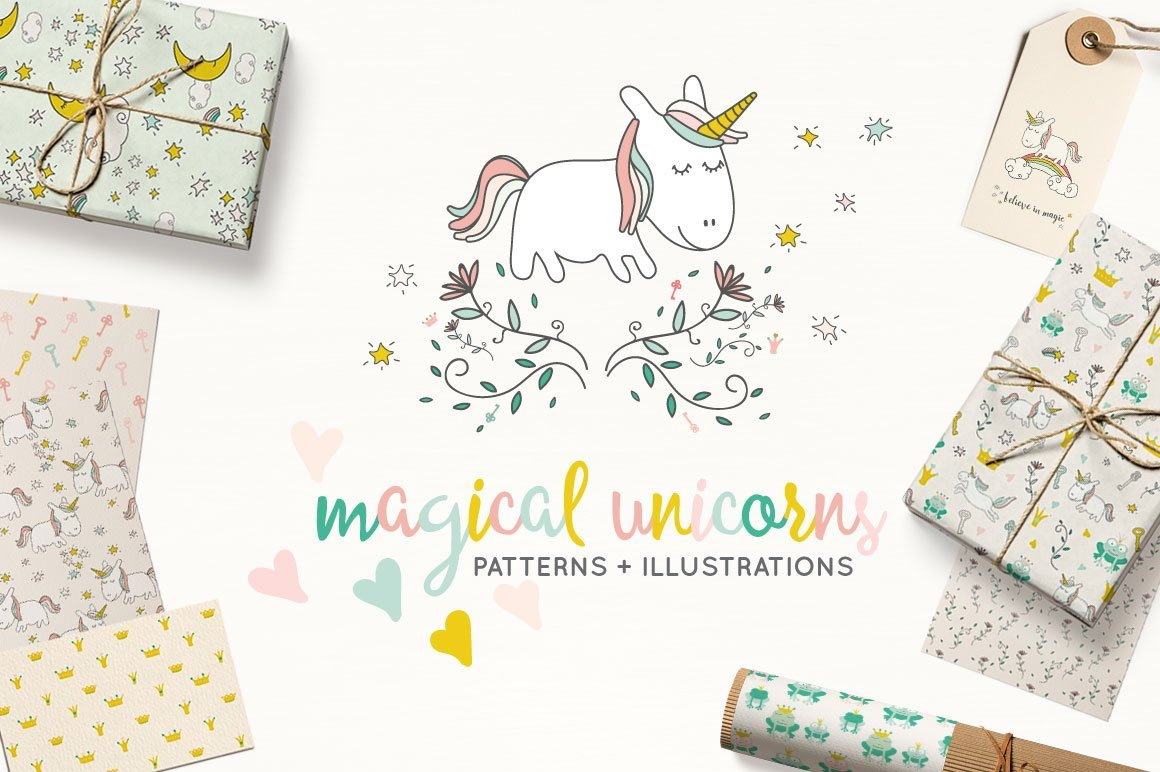Magical Unicorns Patterns + Illustrations