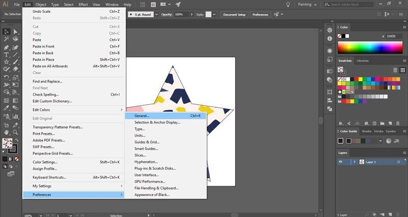 How to change Illustrator default settings