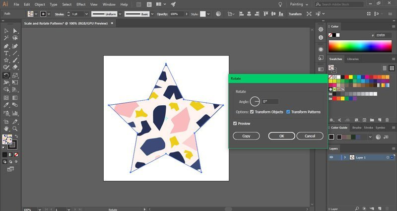 How to rotate patterns in Illustrator