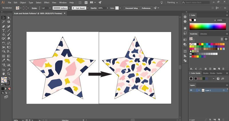 How to scale patterns in Illustrator