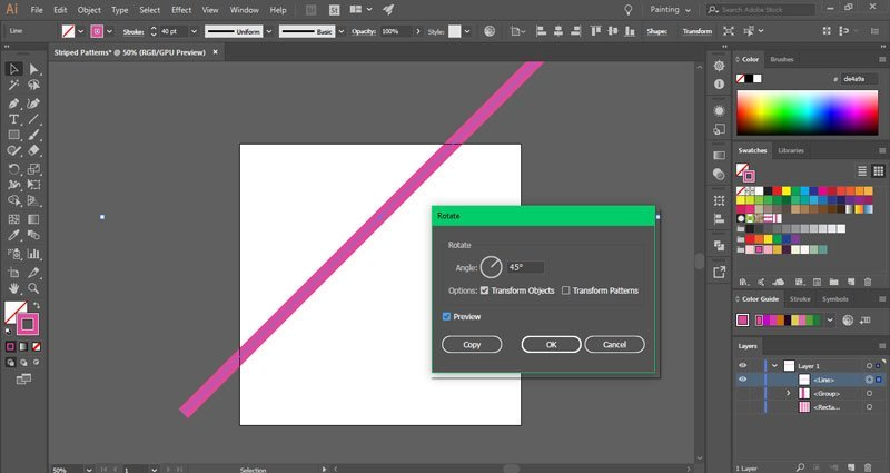 How to make diagonal striped patterns in Illustrator