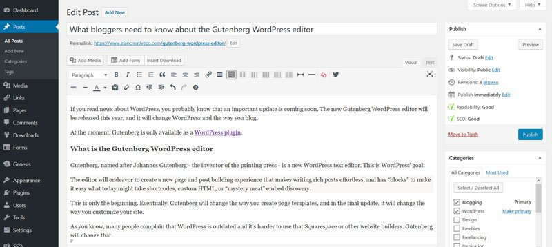 WordPress editor - older version